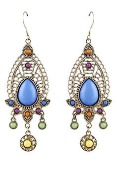 Great Colors! Pair of Bohemian Style Faux Gemstone Waterdrop Earrings #Boho #Chic #Bohemian #Style #Earrings #Colorful #Fashion #Jewelry #Affordable #Gift #Ideas