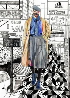 Yohji Yamamoto F/W 2013 by Decue Wu Illustration.Files: F/W 2013 Menswear Illustrations by Decue Wu