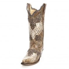 Corral Distressed Brown Embroidered Cowgirl Boots - Womens Boot Styles - Cowgirl Boots - Boots
