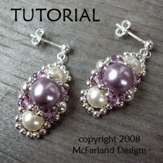 I think I might do this style to go with my wedding dress. I can put the coral rose beads that I have in the center and then go from there.   Beautiful Beaded Earrings Tutorials - The Beading Gem's Journal