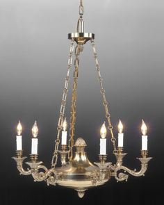 "32""h x 28""w Style#LCFI-7a-Cast brass Federal style six light chandelier. Shown in standard old brass finish."