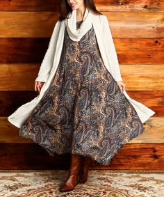 Brown Paisley Handkerchief Dress #zulily #zulilyfinds