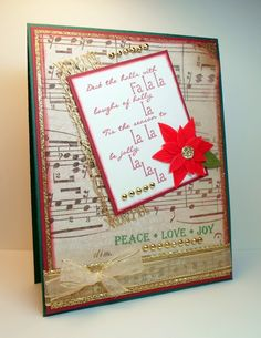 """""""Peace * Love * Joy"""" card make with:    - Gina K Designs Merry Little Christmas stamp set  - Gina K. Designs Pure Luxury card stock in Christmas Pine and Cherry Red    The stamp set is a part of the Merry Little Christmas StampTV kit. You can vi  ew the stamps and purchase the set in the StampTV Store by clicking on this link: http://www.shop.ginakdesigns.com/product.sc;jsessionid=E8910D77514E94CFDFD50F72A206FB62.qscstrfrnt02?productId=1576=16"""