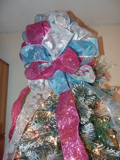 Large Christmas Tree topper bow 3 ribbons Teal by creativelycarole, $45.00