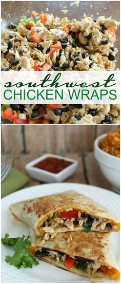 Southwest Chicken Wraps Recipe! Easy dinner recipe for a twist on a classic favorite! My family loves these!