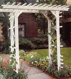 How to Build a Simple Entry Arbor  This arbor is easy on the pocketbook and a snap to build. In fact, if you like, you can eliminate most of the cutting by asking the lumberyard to cut the wood to length for a small fee.