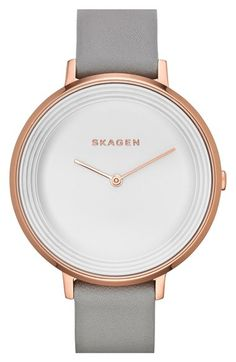Skagen 'Gitte' Round Slim Leather Strap Watch, 38mm available at #Nordstrom