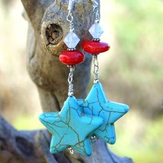 "#Turquoise Magnesite #Star #Earrings with Red #Coral and ""White Opal"" Swarovski Crystals #Handmade by @shadow Shadow Dog Designs #ShadowDogDesigns #Jewelry on #artfire"