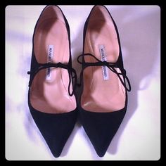 """MANOLO BLAHNIK Black Suede Mary Janes Size 37.5 Black suede, tie closure, follow the Manolo Blahnik size chart in attached pics. I had to choose """"7.5...37.5"""" on Posh's choices to select 37.5 which is printed on the soles of the shoes Manolo Blahnik Shoes Heels"""