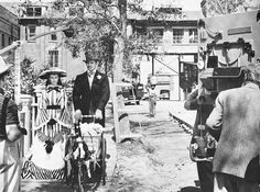 Gone With The Wind behind-the-scenes view   in this behind-the-scenes shot during the filming of Gone With The Wind, the large reform school set from DeMille's 1929 silent film The Godless Girl can be seen in the background.