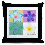 Plumeria Pop Art Throw Pillow