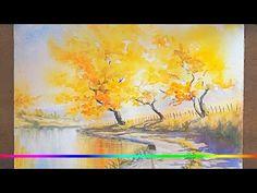 Акварель - Золотая осень (скоростная живопись) — Яндекс.Видео