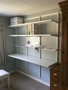 Elfa shelving - I love my new sewing room! Diy Overhead Garage Storage, Garage Storage Shelves, Bookcase Organization, Bike Storage, Tv Storage, Ikea Billy Bookcase Hack, Billy Bookcases, Elfa Shelving, Storage Hacks