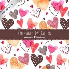 Watercolor padrão corações bonitos Vetor grátis