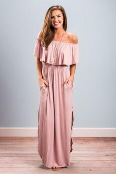 Off The Shoulder Side Slit Maxi Dress - Mauve - The Mint Julep Boutique