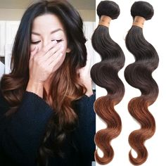 Ombre hair body wave Human Remy hair weft Extension Color 1B/4/30# 3Tone Colored #wigiss #HairExtension