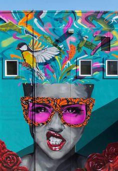 in Modesto, California, USA, 2018 Graffiti Wall Art, Mural Art, Murals Street Art, Street Art Graffiti, Art Drawings Beautiful, Amazing Street Art, Building Art, Arte Pop, Art For Art Sake