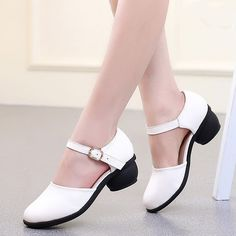 New Ladies Jazz Tap Round Toe Prom Shoes Block Low Heel Dance Shoes Mary Janes…