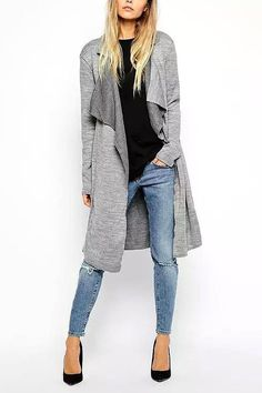 Gray Belted Knit Trench Coat from Young & Free Clothing