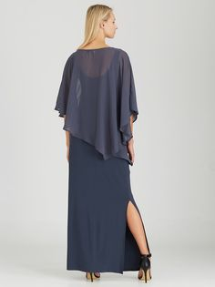 ELIGERE Chiffon Over-Lay Gown Grey