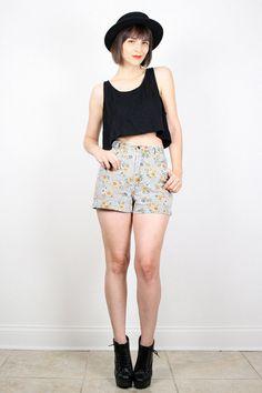 Vintage 90s Shorts SUNFLOWER Print Denim Shorts Black White Gingham Plaid Jean Shorts High Waisted Shorts 1990s Soft Grunge Shorts S Small by ShopTwitchVintage #vintage #etsy #90s #1990s #shorts #sunflower #sunflowers #gingham #denim #jean #shorts