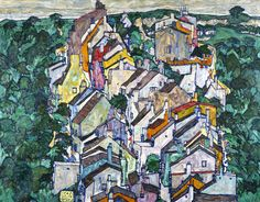 Egon Schiele - Town among Greenery (The Old City III), 1917, oil on panel