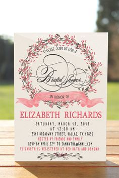 Floral Bridal Shower Invitation Bridal Shower by MyPrintableArts