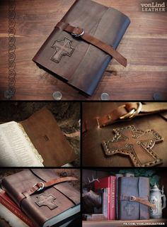 Rustic leather Bible cover with Celtic cross