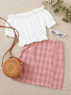 Shop Off Shoulder Ruffle Blouse & Plaid Skirt at ROMWE, discover more fashion styles online. Girls Fashion Clothes, Summer Fashion Outfits, Cute Summer Outfits, Cute Casual Outfits, Cute Fashion, Pretty Outfits, Stylish Outfits, Sexy Outfits, Teenager Outfits