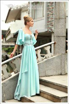 エレガントスタイル シフォンスクエアネック 半袖ロング丈 イブニングドレス