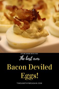 These bacon deviled eggs have bacon in the mixture, and are garnished with more bacon on the top, because more bacon is better. #bacon #baconday #bacondeviledeggs #eggs #deviledeggs #deviled #deviledeggsday #potluck #familyfavorites #partyfood
