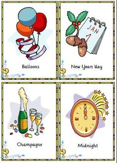 New Year Flashcards that teach New Year related vocabulary: countdown, fireworks, midnight, party, noise makers, calendar, friends, champagne, confetti, etc.