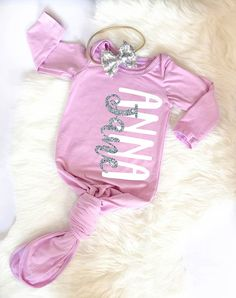 Personalized baby girl clothes baby girl take me home outfit personalized newborn gown baby girl gown baby girl take home outfit newborn hospital outfit baby shower gift purple newborn gown tie gown negle Choice Image
