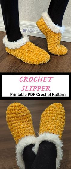 13 Crochet Slipper Patterns – Great Cozy Gifts - A Crafty Life <br> Looking for a cozy gift idea? Try any of these Crochet Slipper Patterns for a great gift. You can use lots of different color combos to fit anyone. Crochet Simple, Free Crochet, Knit Crochet, Beginner Crochet, Crochet Boots, Crochet Clothes, How To Crochet Slippers, Knitted Slippers, Crochet Crafts