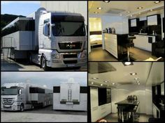 Manufactured by Spain's Caravanas Rioja and pulled by a MAN tractor this mega RV trailer can be found on Europe's motor racing circuit. Credit: Visibly Loud