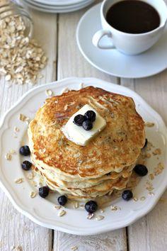Blueberry Oatmeal Yogurt Pancakes | healthy recipe ideas @xhealthyrecipex |