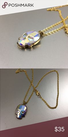 """Necklace made w/ Swarovski Crystal Skull Necklace made with a Swarovski 18 x 14mm Crystal set in Sterling silver and plated with 24k gold. Chain is 18"""" and gold plated. StevebDesigns Jewelry Necklaces"""