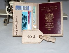 personalized leather passport holder & luggage tag in set by araga, $55.00
