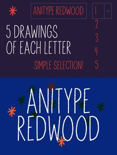 Anitype Redwood is an animated, handwritten typeface. Each glyph is drawn five times to produce a naive animated effect when used as frames of an animation. Animated Fonts, Hipster Fonts, Unique Drawings, Glyphs, Naive, The Selection, Animation, Lettering, Drawing Letters
