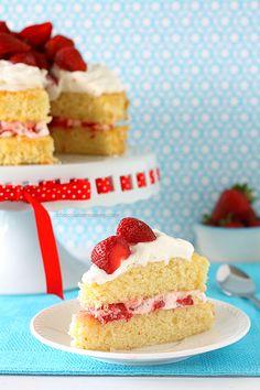 Strawberry Shortcake Layer Cake with sponge cake, homemade whipped cream, and of course plenty of fresh strawberries