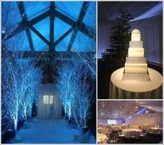 Heaton House Farm - Entrance Barn - Winter Wonderland Wedding - White Trees - White Aisle Carpet - Oak Beams - White Diamonte Wedding Cake - Christmas Tree - Christmas Wedding - Blue Lighting - Dramatic Wedding Theme