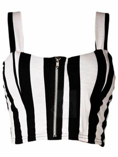 Black & White Vertical Stripe Front Zip Bralet