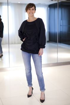 Our Fashion Director teams Ann-Sofie Back's shredded sweater with her rolled-up jeans and courts. Perfect laid back style!
