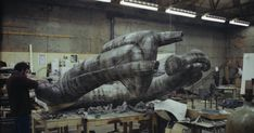 leading from Alien: The Derelict a) Giger visits Bray in September On the September, H R Giger is driven to Bray Studios b. Alien 1979, Alien Vs, Predator 1, Model Maker, Studios, September, Lion Sculpture, Construction, Statue
