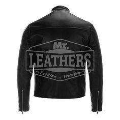 Stripped Semi Motorbike Fashion Leather Jacket