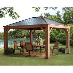 The pergola kits are the easiest and quickest way to build a garden pergola. There are lots of do it yourself pergola kits available to you so that anyone could easily put them together to construct a new structure at their backyard. Backyard Pavilion, Backyard Gazebo, Backyard Patio Designs, Outdoor Pergola, Pergola Designs, Backyard Landscaping, Pergola Ideas, Patio Ideas, Diy Gazebo