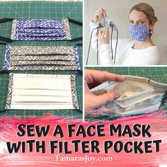 face mask with filter pocket \ face mask pattern . face mask with filter pocket . face mask with filter pocket pattern Sewing Hacks, Sewing Tutorials, Sewing Projects, Sewing Tips, Dress Tutorials, Easy Face Masks, Diy Face Mask, Homemade Face Masks, Diy Masque