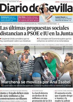 Los Titulares y Portadas de Noticias Destacadas Españolas del 21 de Noviembre de 2013 del Diario De Sevilla ¿Que le pareció esta Portada de este Diario Español?