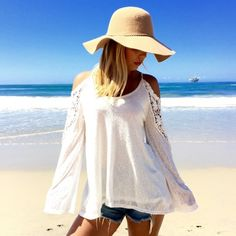Stylish Fashion Sexy Ladies Women O-neck Off-shoulder Long Sleeve Lace Beach Tops