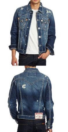 True Religion Men's Jimmy Super Tee, Dust Bowl, Medium - Mens jean jacket - Denim - Apparel - $196.00